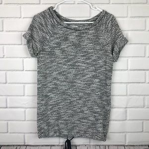 Lou and Grey Marled Knit Top Tie Detail Size Small
